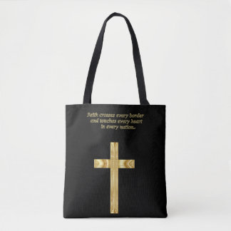 Tote Bag Croix chrétienne de foi d'or avec l'énonciation