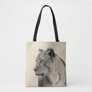 Tote Bag Croquis de lionne de prairies de la savane