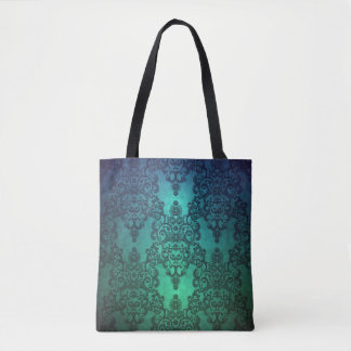 Tote Bag Damassé complexe vert-bleu turquoise profonde de