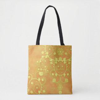 Tote Bag Damassé florale de fantaisie orange d'or jaune