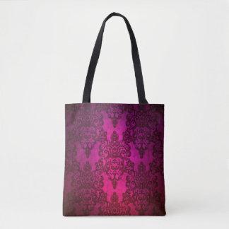 Tote Bag Damassé florale de fantaisie pourpre rose-foncé