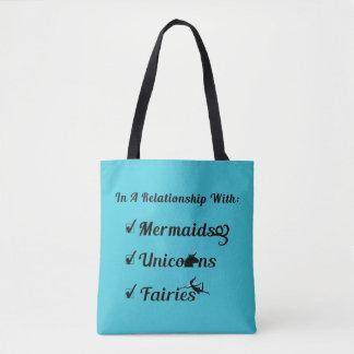Tote Bag Dans un rapport avec des sirènes, licornes, fées