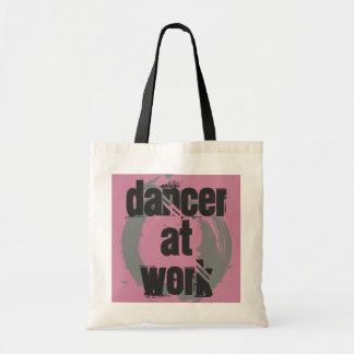 Tote Bag Danseur au travail blanc/rose/sac fourre-tout gris