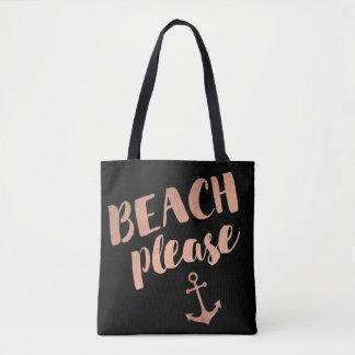 Tote Bag de plage calligraphie rose d'or svp