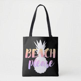 Tote Bag de plage calligraphie svp sur l'ananas blanc
