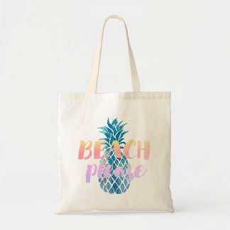 Tote Bag de plage calligraphie svp sur l'ananas bleu