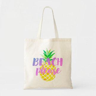 Tote Bag de plage calligraphie svp sur l'ananas d'aquarelle