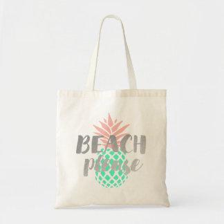 Tote Bag de plage calligraphie svp sur l'ananas turquoise