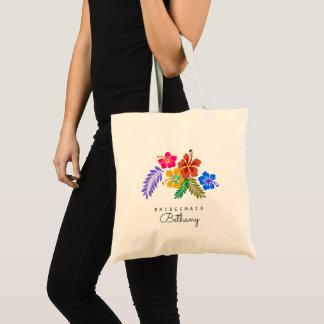 Tote Bag Demoiselle d'honneur hawaïenne de ketmie de thème