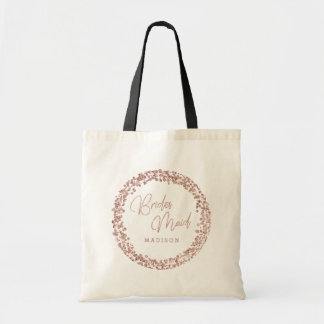 Tote Bag Demoiselle d'honneur rose de mariage de cadre de