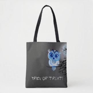 """Tote Bag """"Des bonbons ou un sort"""" avec le hibou de bébé"""