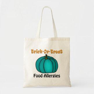 """Tote Bag """"Des bonbons ou un sort !"""" Citrouille turquoise 4"""