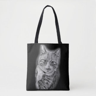 Tote Bag Dessin d'art animal noir et blanc de chat