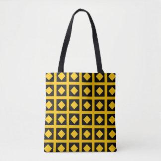 Tote Bag Diamants d'or et carrés noirs
