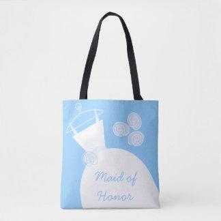 Tote Bag Domestique de robe de mariage d'honneur bleue