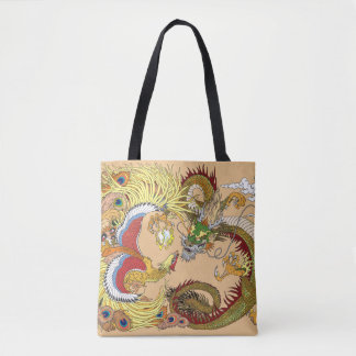 Tote Bag Dragon et Phoenix chinois