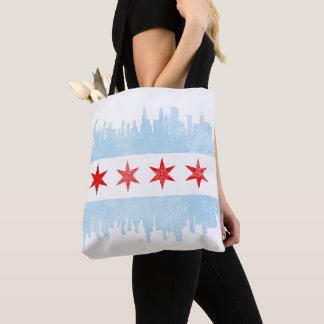 Tote Bag Drapeau affligé d'horizon de Chicago
