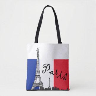 Tote Bag Drapeau français et Tour Eiffel et le mot Paris