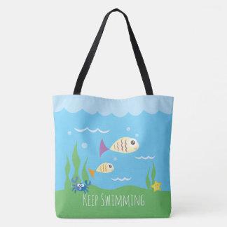 Tote Bag Drôle continuez juste à nager les poissons