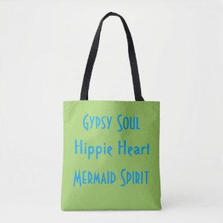 Tote Bag Été hippie gitan bleu d'esprit de sirène de chaux