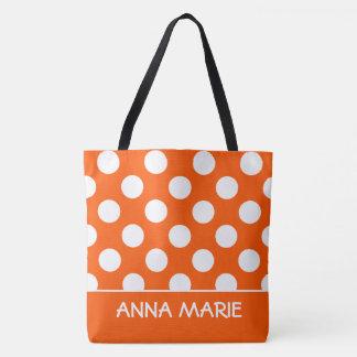 Tote Bag Été orange et point de polka blanc personnalisé