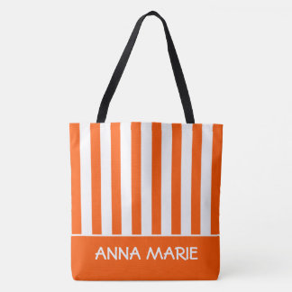 Tote Bag Été orange et rayure blanche personnalisée