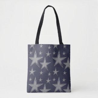 Tote Bag Étoiles argentées de marine