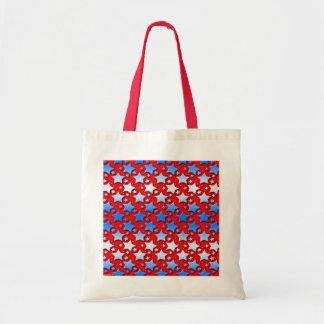 Tote Bag Étoiles bleues de blanc sur le rouge
