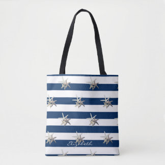 Tote Bag Étoiles de mer adorables, bleu marine