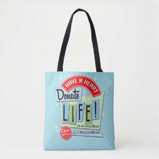 Tote Bag Faites donner un coeur la vie, point de polka