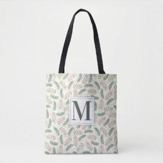 Tote Bag Feuillage décoré d'un monogramme de Noël