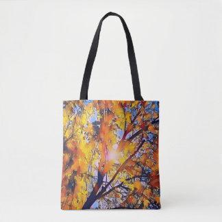 Tote Bag Feuille assez artistique d'automne avec le soleil