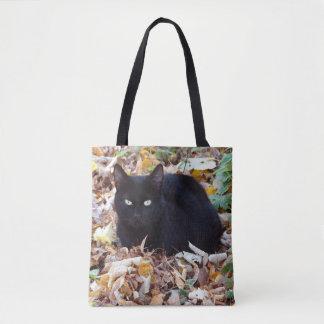 Tote Bag Feuille d'automne de chat noir tout plus de -