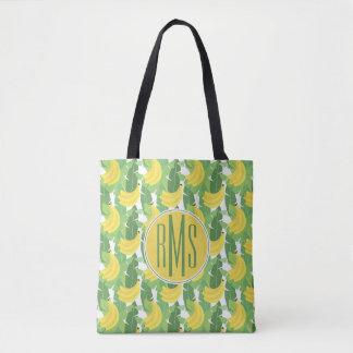 Tote Bag Feuille de banane et monogramme du motif | de