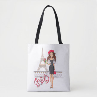 Tote Bag Fille de Paris de mode peinte à la main