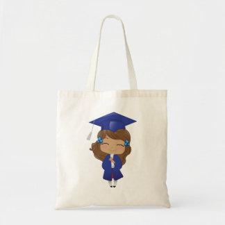 Tote Bag Fille d'obtention du diplôme dans le bleu