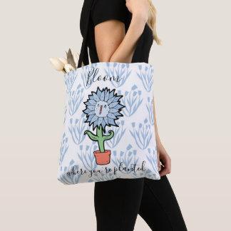 Tote Bag Fleur où vous êtes fleur mignonne plantée