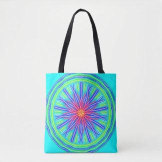 Tote Bag Fleur rouge et bleue au néon abstraite