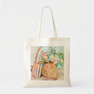 Tote Bag Fleurs dans un panier avec des livres Fourre-tout
