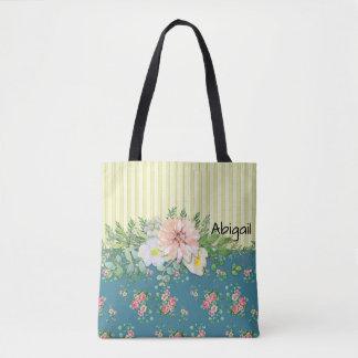 Tote Bag Fleurs et rayures