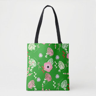 Tote Bag Fleurs, feuille et petits pélicans