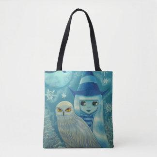 Tote Bag Flocons de neige d'hiver d'ami de hibou de fille