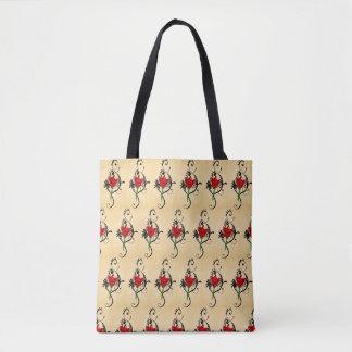 Tote Bag flower red arabesque