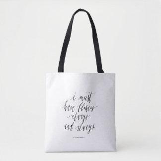Tote Bag Fourre-tout noir et blanc avec la citation