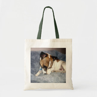 Tote Bag Fox_Terrier_So_Shy, _Budget_Grocery_Tote_Bag.