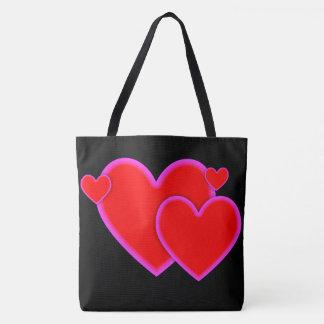 Tote Bag Frontière rose pourpre rouge de coeurs d'amour sur