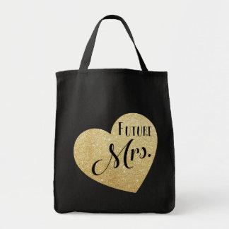 Tote Bag Future Mme avec la police chic de coeur de