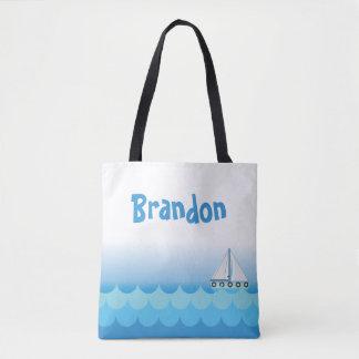 Tote Bag Garçon d'eau bleue blanc de bateau de voilier de
