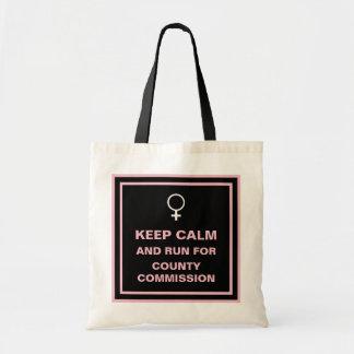 Tote Bag Gardez la course calme pour la Commission du comté