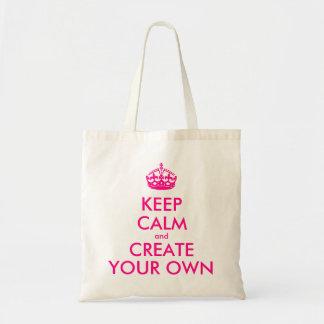 Tote Bag Gardez le calme et créez vos propres - rose